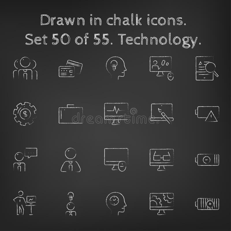 Icône de technologie réglée dessinée dans la craie illustration stock