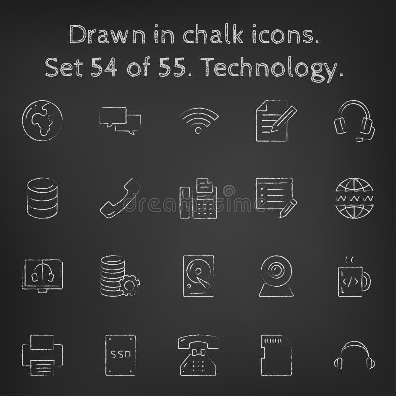 Icône de technologie réglée dessinée dans la craie illustration libre de droits