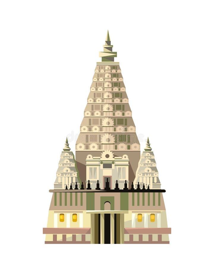 Icône de temple de Mahabodhi d'isolement sur le fond blanc illustration stock