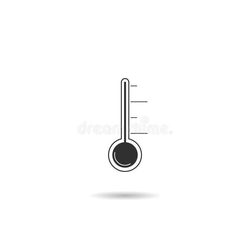 Ic?ne de thermom?tre symbole plat de vecteur d'isolement sur le blanc illustration de vecteur