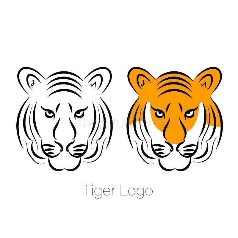 Icône de tigre d'isolement sur un tatouage blanc de calibre de logo de fond illustration stock