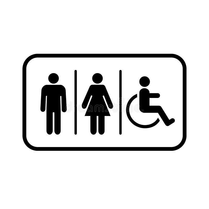 Ic?ne de toilettes Signage de toilettes Logo d'illustration de vecteur de symbole de toilette illustration libre de droits
