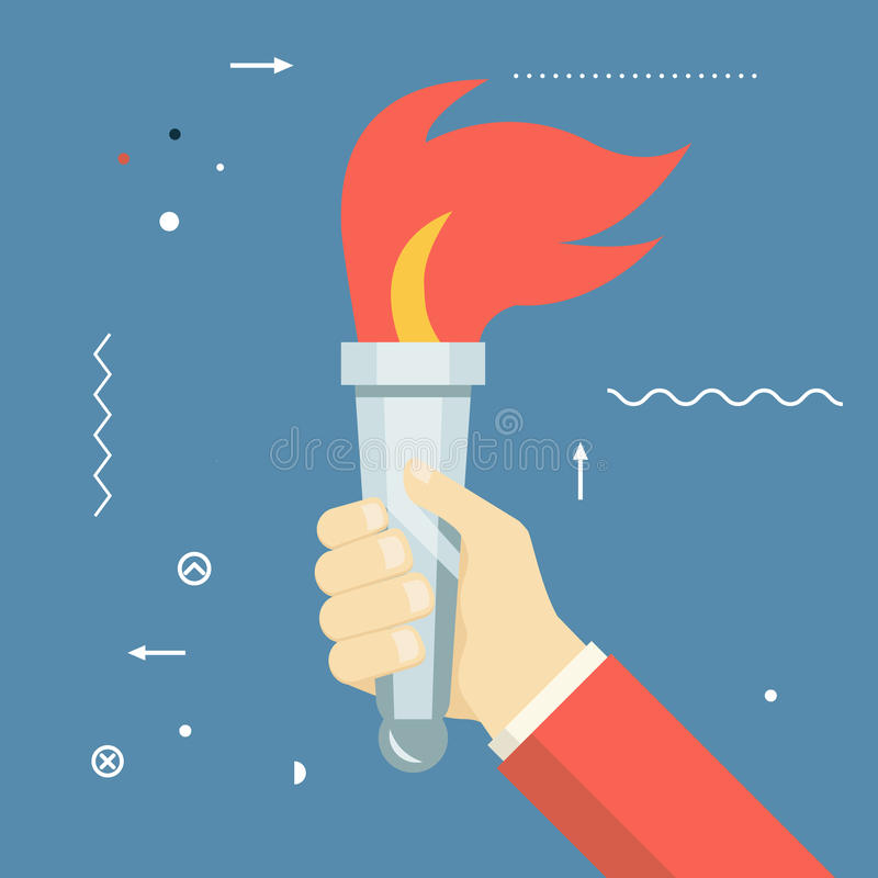 Icône de torche du feu de Victory Flame Symbol Hand Hold illustration stock