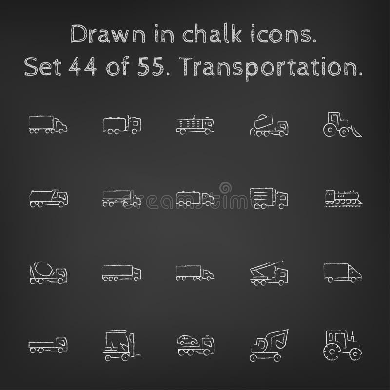 icône de transport réglée dessinée dans la craie illustration de vecteur