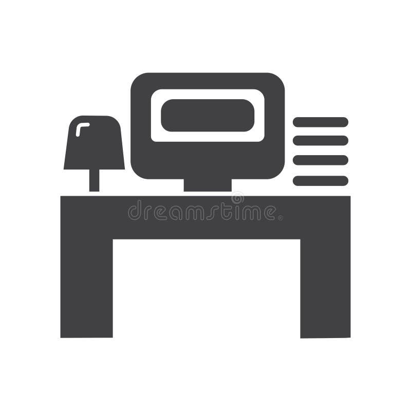 Ic?ne de travail de lieu de travail ou de bureau Ic?ne de vecteur avec la lampe de table d'ordinateur et le mini individu illustration stock