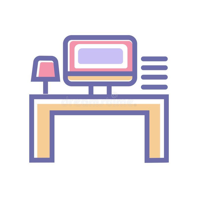 Ic?ne de travail de lieu de travail ou de bureau Ic?ne de vecteur avec la lampe de table d'ordinateur et le mini individu illustration libre de droits