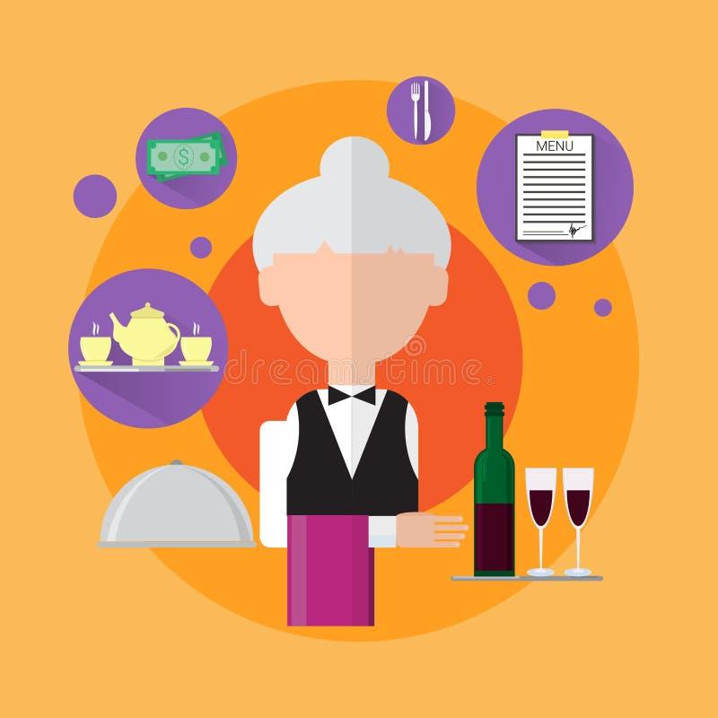 Download Icône De Travailleur De Senior Woman Catering De Serveuse Illustration Stock - Illustration du illustration, nourriture: 77156441