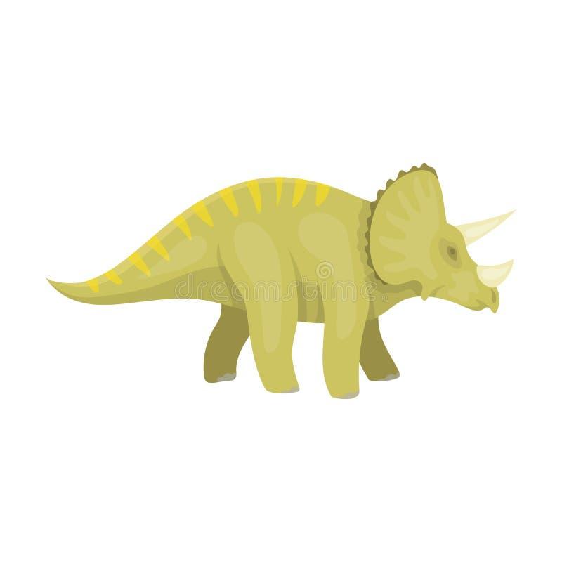 Icône de Triceratops de dinosaure dans le style de bande dessinée d'isolement sur le fond blanc Dinosaures et vecteur préhistoriq illustration libre de droits
