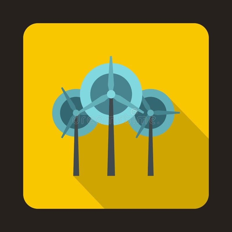Icône de turbines de générateur de vent, style plat illustration libre de droits