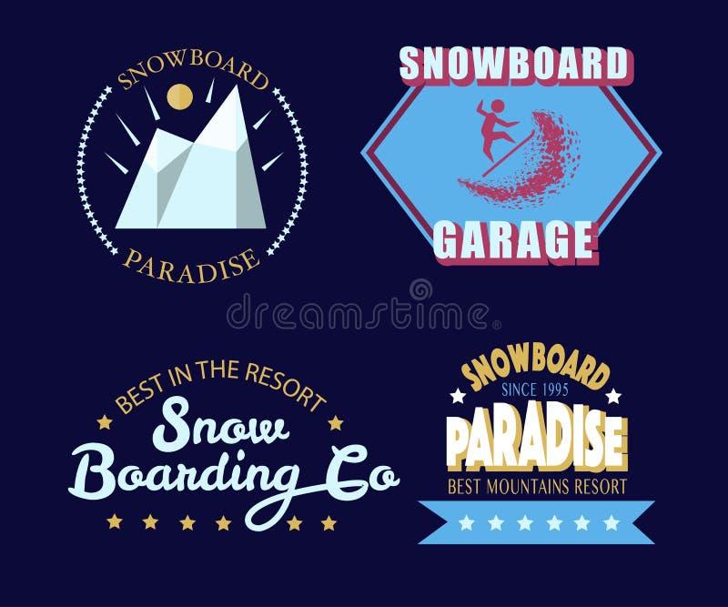Icône de typographie de snowboarding, logotype et ensemble d'insigne illustration stock