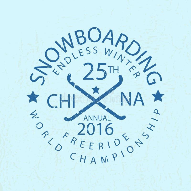 Icône de typographie de snowboarding, logotype et St d'insigne illustration libre de droits