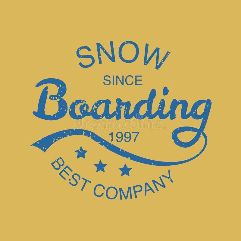 Icône de typographie de snowboarding, logotype et St d'insigne illustration de vecteur