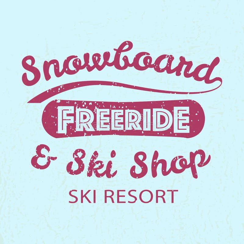 Icône de typographie de snowboarding, logotype et St d'insigne illustration stock