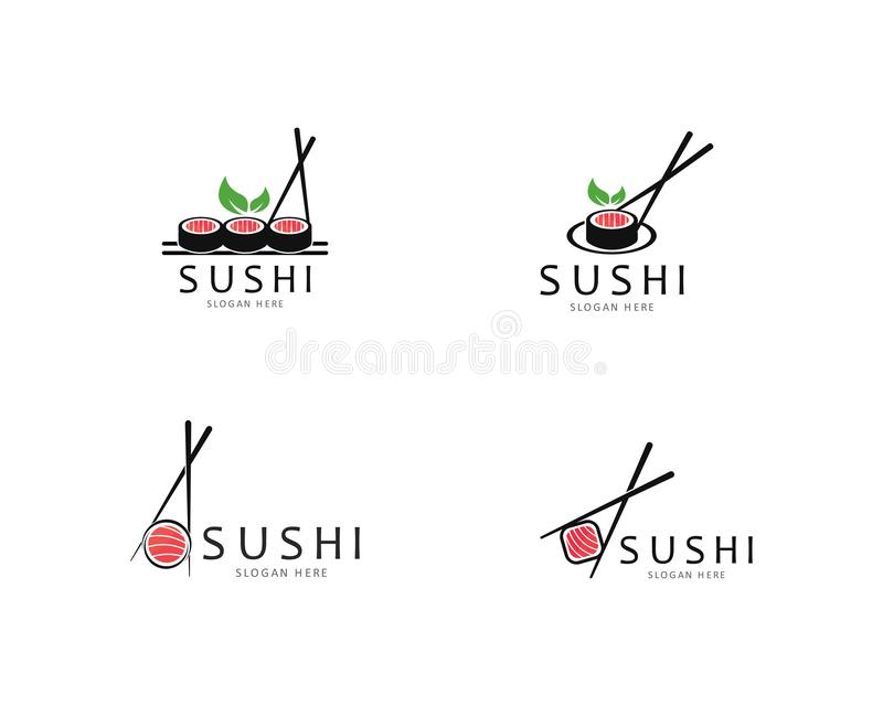Ic?ne de vecteur de calibre de logo de sushi pour l'illustration japonaise de nourriture illustration de vecteur