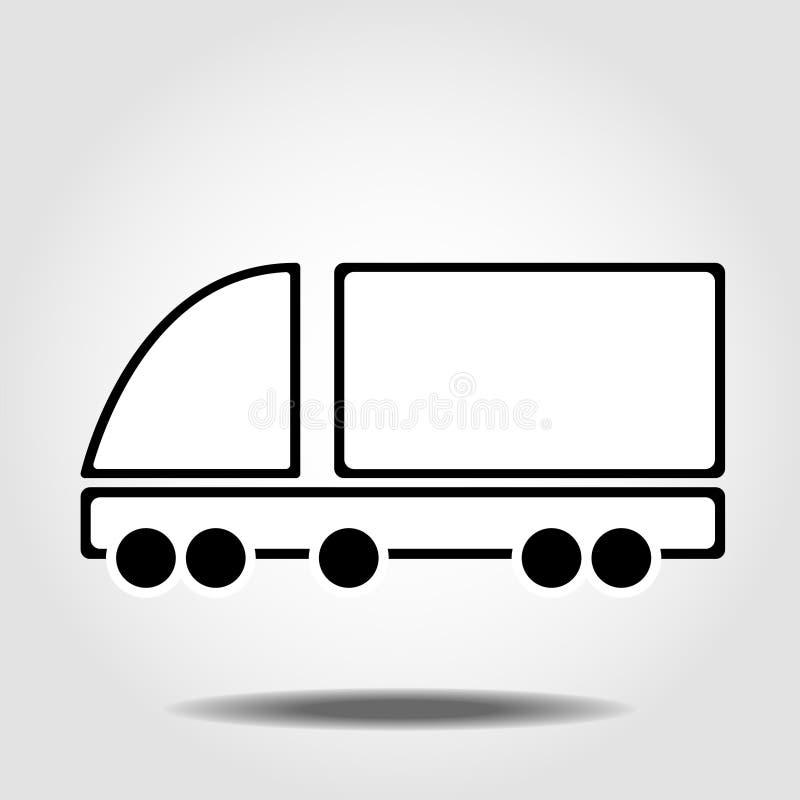 Ic?ne de vecteur de camion de livraison Fourgon de cargaison, symbole logistique Signe plat de vecteur d'isolement sur le fond bl illustration de vecteur