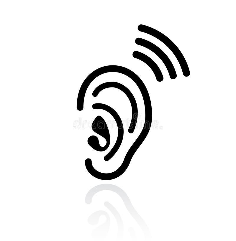 Icône de vecteur d'audition d'oreille illustration de vecteur