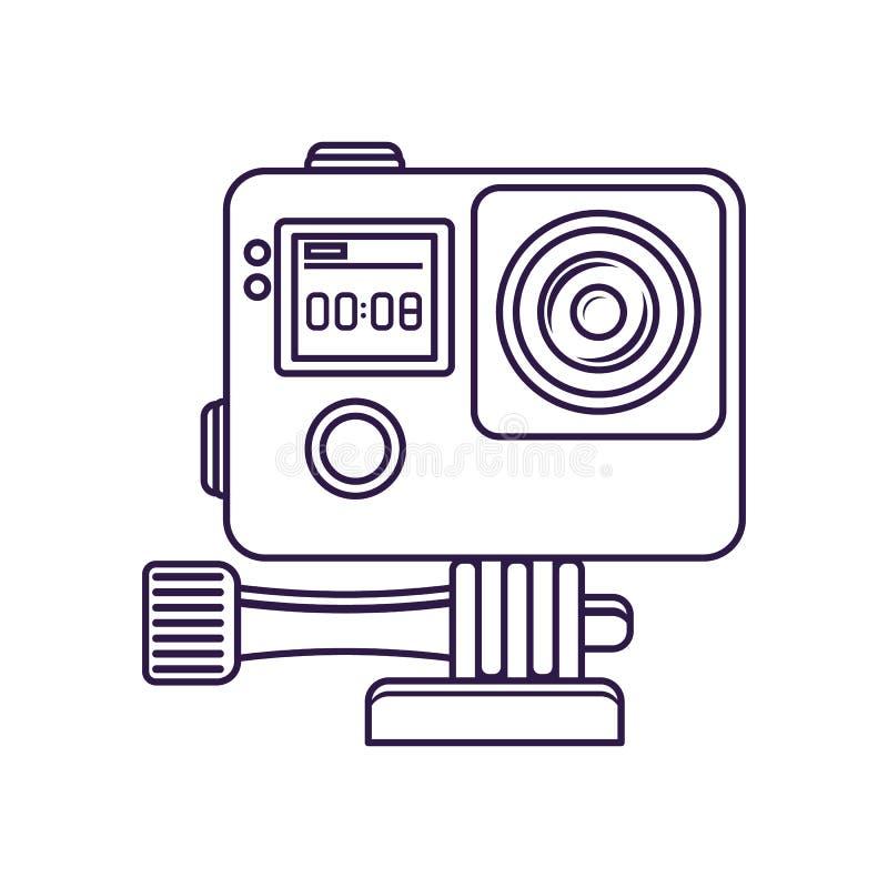 Icône de vecteur d'isolement par caméra vidéo d'action illustration stock