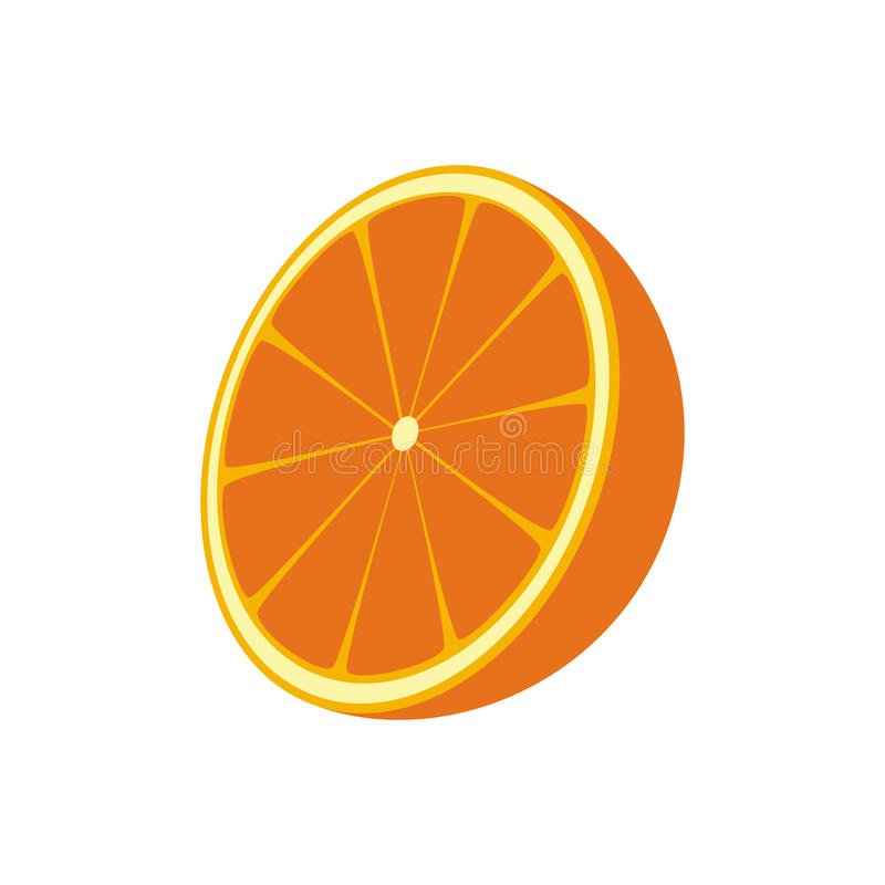 Icône de vecteur d'isolement par fruit orange illustration stock
