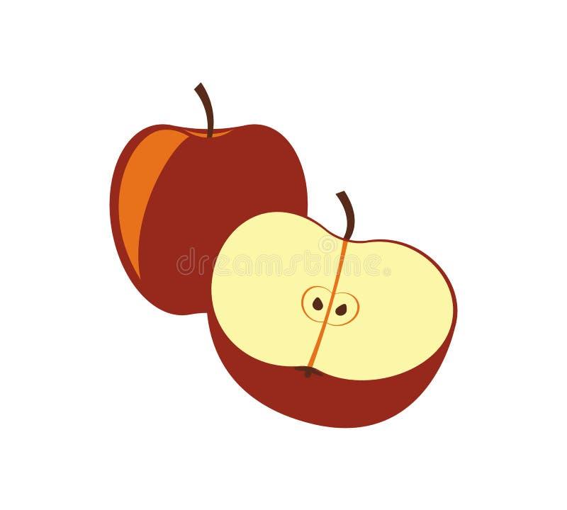 Icône de vecteur d'isolement par pomme rouge illustration stock