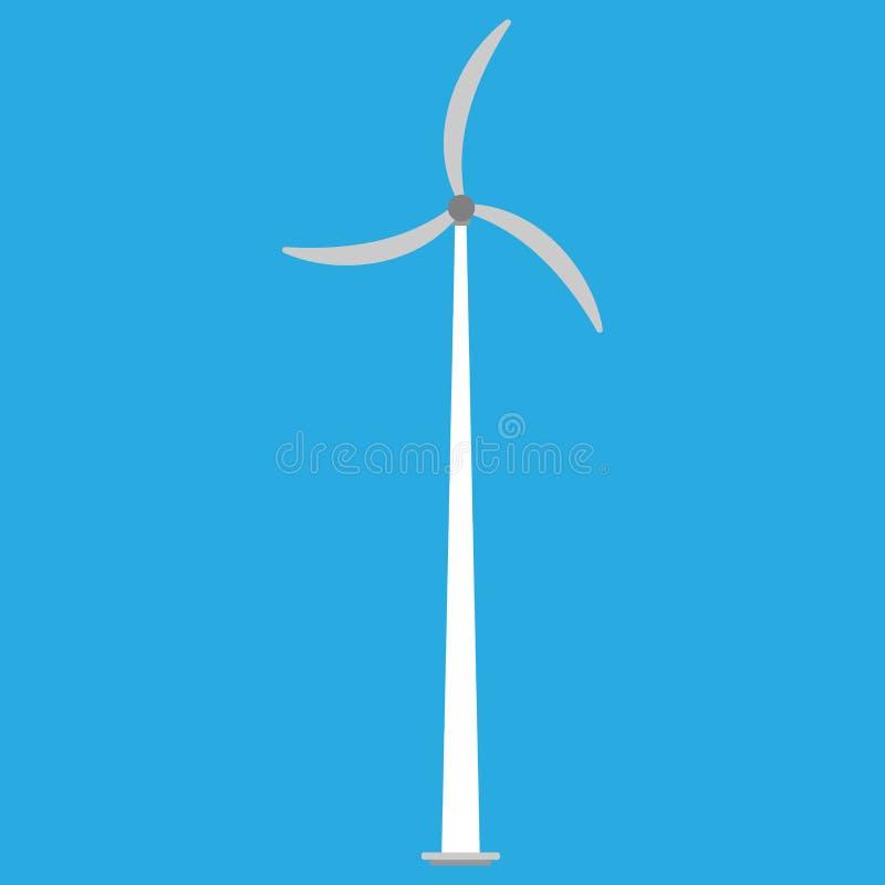 Ic?ne de vecteur d'?nergie de moulin ? vent de puissance de turbine de vent Tour alternative de g?n?rateur d'eco d'industrie de t illustration de vecteur