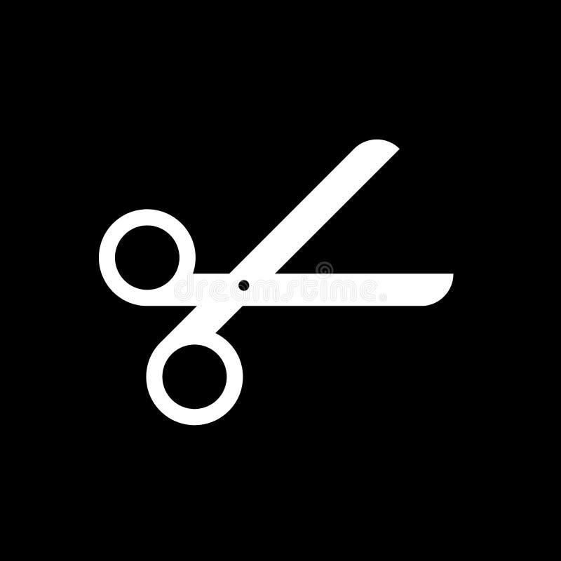 Icône de vecteur de ciseaux d'isolement sur le fond noir illustration stock