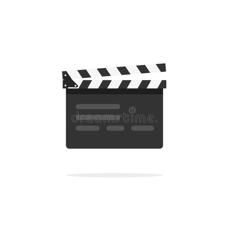 Icône de vecteur de claquette, dispositif de cinéma d'ardoise de bardeau, équipement visuel de clapet de film illustration libre de droits