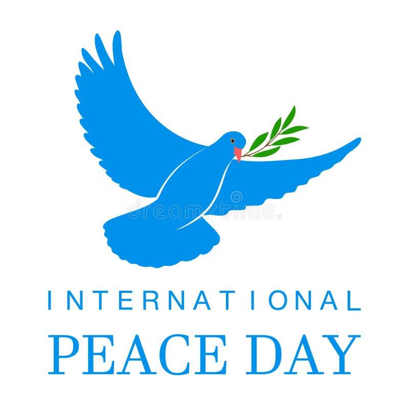 Icône de vecteur de colombe de blanc avec Olive Branch Symbole de paix Logo d'isolement par pigeon Emblème blanc d'oiseau de vol  illustration stock