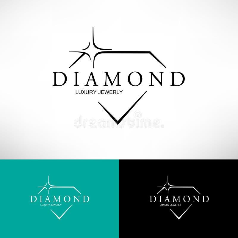 Icône de vecteur de diamant réglée dans la ligne style Conception de LOGO illustration stock