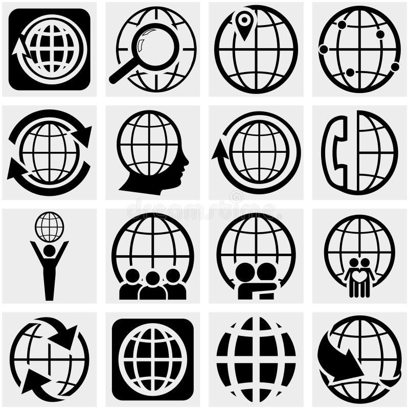 Icône de vecteur de la terre de globe réglée sur le gris illustration stock