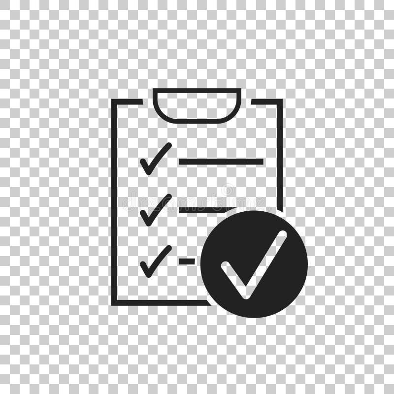 Icône de vecteur de liste de contrôle Illustration de vecteur d'enquête dans la conception plate illustration libre de droits