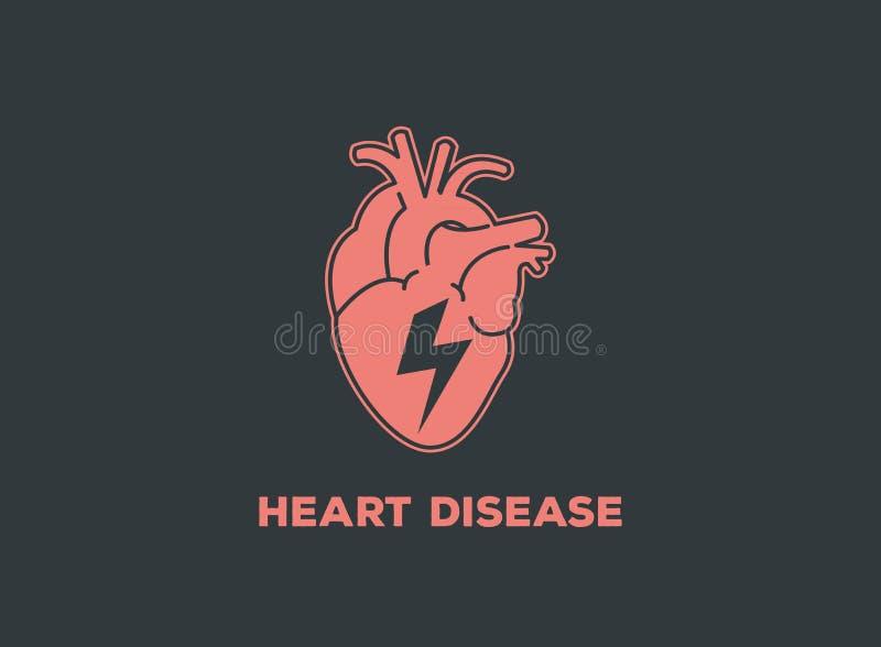 Icône de vecteur de logo de maladie cardiaque illustration libre de droits