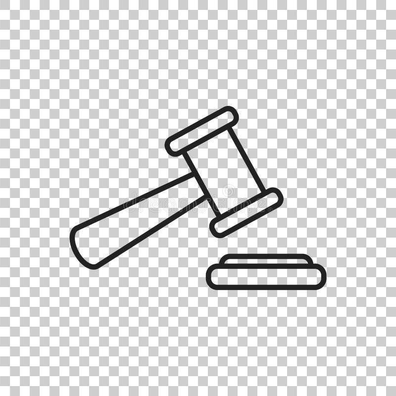 Icône de vecteur de marteau de vente aux enchères dans la ligne style Tribunal IC plat de cour illustration de vecteur