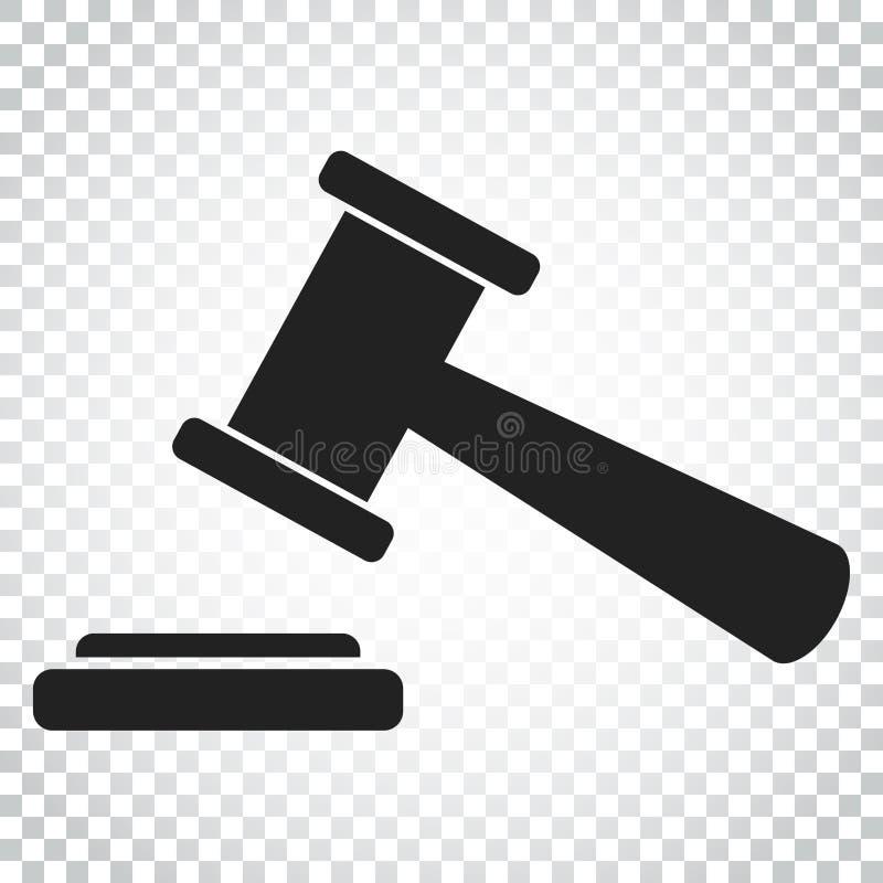 Icône de vecteur de marteau de vente aux enchères Icône plate de tribunal de cour Autobus simple illustration libre de droits
