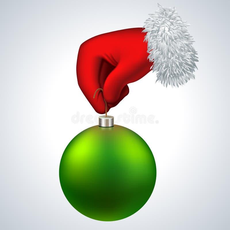 Icône de vecteur de nouvelle année La main de Santa jugeant illustration stock