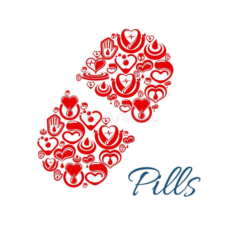 Icône de vecteur de pilule des symboles de soins de santé de coeur illustration stock