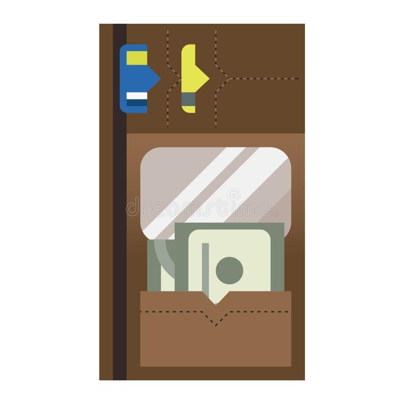 Icône de vecteur de portefeuille de bourse illustration stock