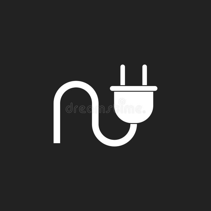 Icône de vecteur de prise Illustration plate de câble de puissance illustration stock