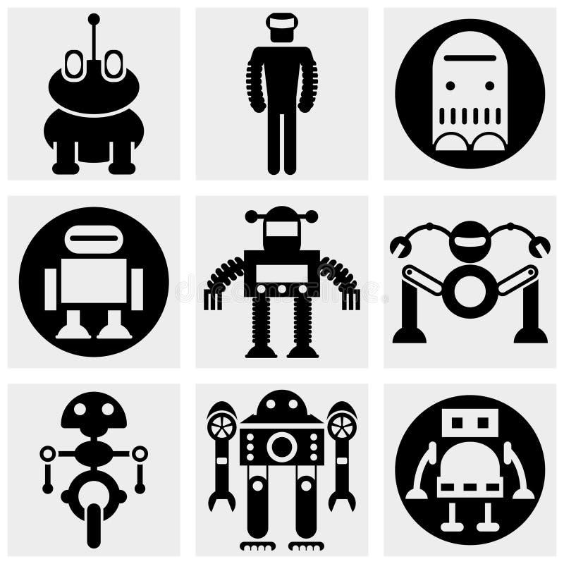Icône de vecteur de robot réglée sur le gris illustration libre de droits