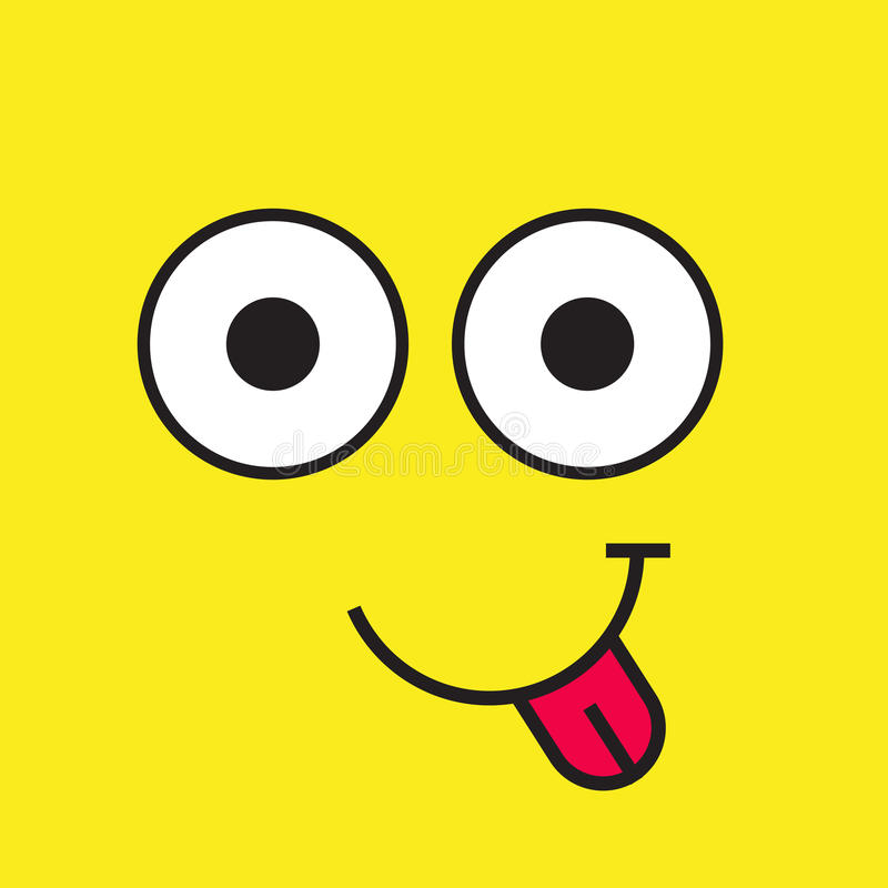 Icône de vecteur de visage de sourire, émotion de sourire avec des yeux et langue illustration de vecteur