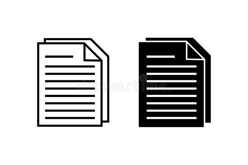 Ic?ne de vecteur de document Symbole de note dans le style plat illustration de vecteur
