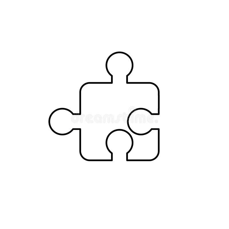 Ic?ne de vecteur du morceau de puzzle denteux Contour noir illustration de vecteur