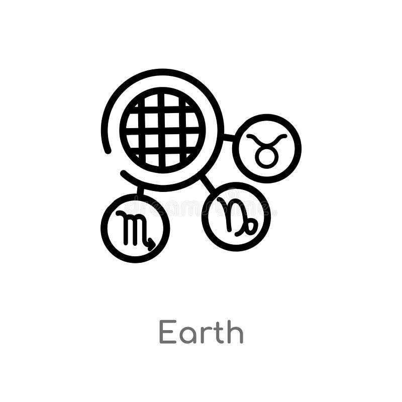 ic?ne de vecteur de la terre d'ensemble ligne simple noire d'isolement illustration d'?l?ment de concept de zodiaque ic?ne editab illustration libre de droits