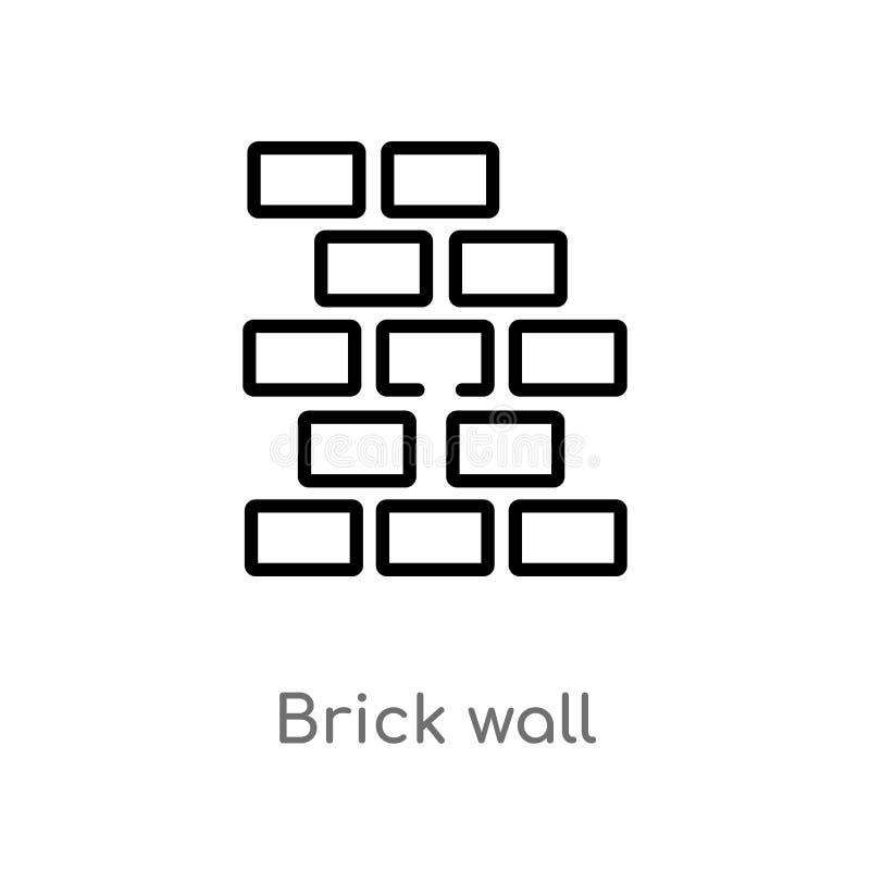 Ic?ne de vecteur de mur de briques d'ensemble ligne simple noire d'isolement illustration d'?l?ment de concept d'outils de constr illustration de vecteur