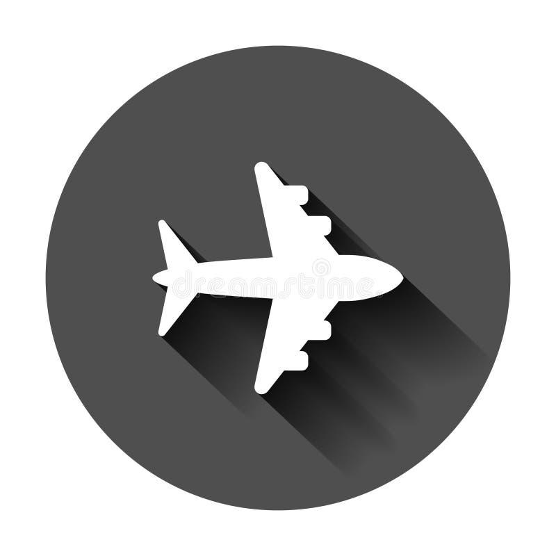 Ic?ne de vecteur de signe d'avion Illustration plate d'a?roport Pictogramme plat simple de concept d'affaires sur le fond rond no illustration libre de droits