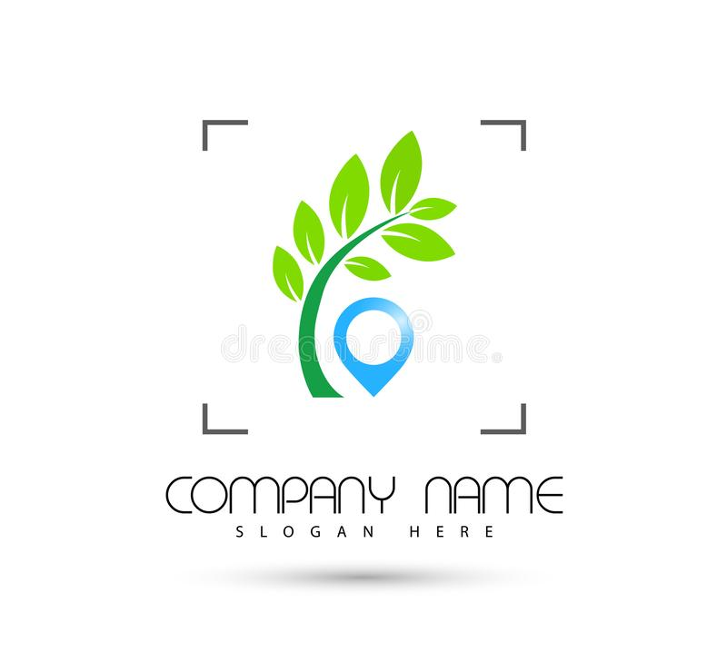 Ic?ne de vert de symbole de concept de construction de logo de vecteur de foyer d'ic?ne d'emplacement de tourisme d'h?tel sur le  illustration stock