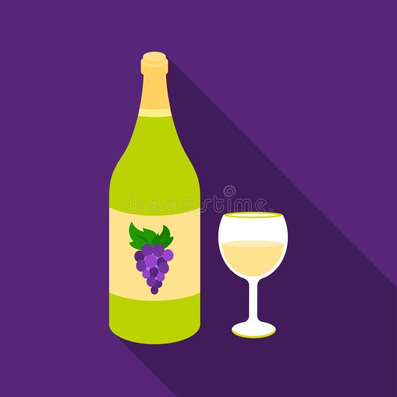 Icône de vin blanc dans le style plat d'isolement sur le fond blanc Illustration de vecteur d'actions de symbole d'alcool illustration de vecteur