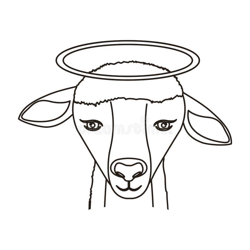 Icône de visage d'agneau illustration stock