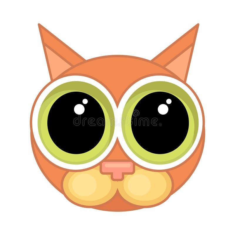 Icône de visage de chat de bande dessinée Icône émotive, culpabilité, excuses illustration de vecteur