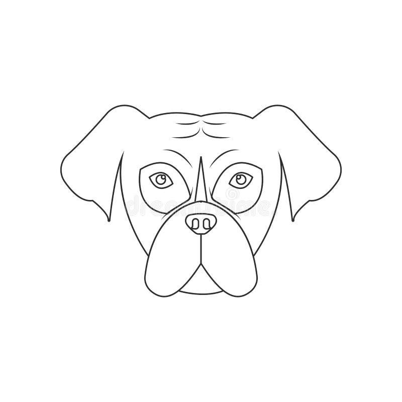 Ic?ne de visage de mastiff ?l?ment de chien pour le concept et l'ic?ne mobiles d'applis de Web Contour, ligne mince ic?ne pour la illustration stock