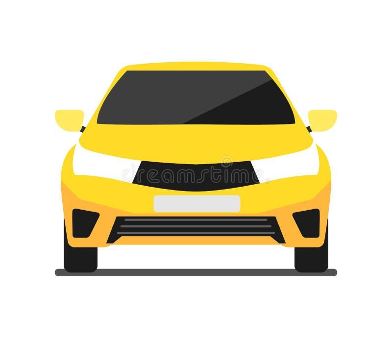 Icône de voiture de jaune de vue de face dans la conception plate illustration de vecteur